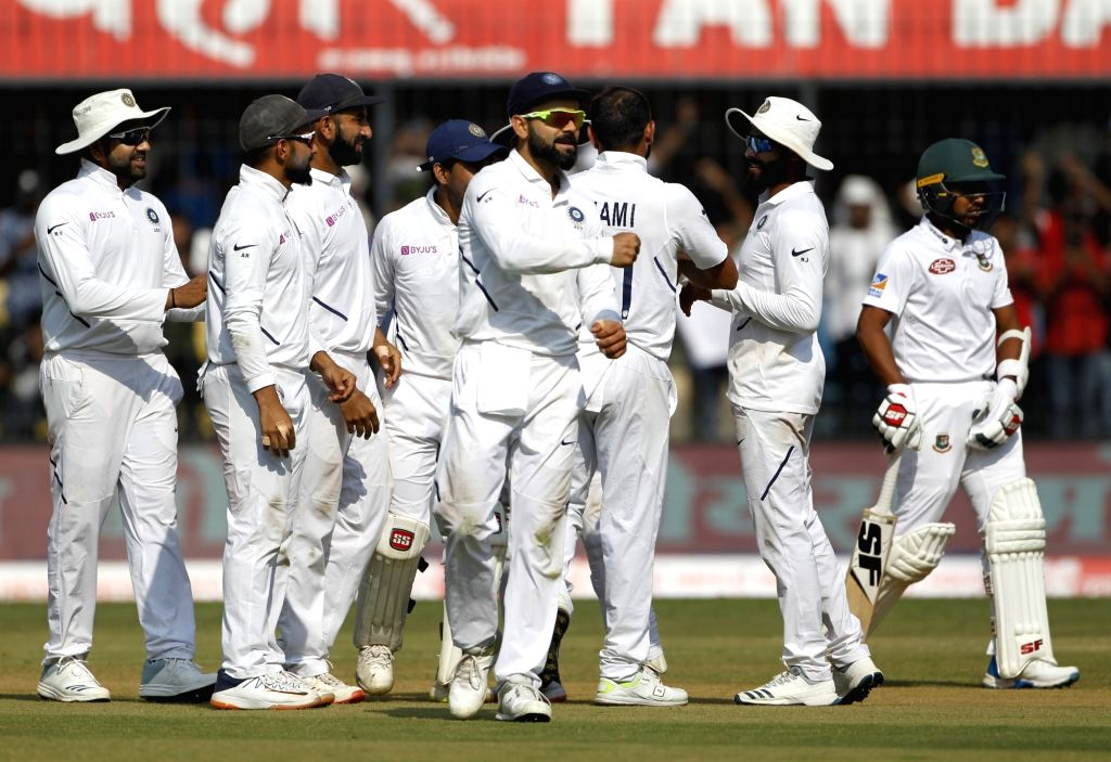 India's Virat Kohli celebrates fall of a wicket on Day 1 of the 1st Test match between India and Bangladesh at Holkar Cricket Stadium in Indore, Madhya Pradesh on Nov 14, 2019. - Virat Kohli