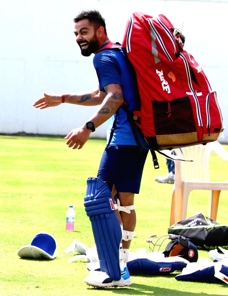 India's Virat Kohli during a practice session ahead of the second ODI match against Australia, at Vidarbha Cricket Association (VCA) Stadium, in Nagpur, on March 4, 2019. - Virat Kohli