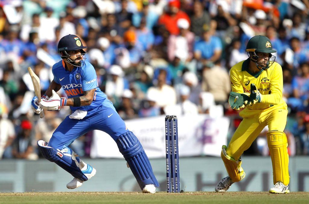 India's Virat Kohli in action during the second ODI match against Australia at Vidarbha Cricket Association (VCA) Stadium, in Nagpur, on March 5, 2019. - Virat Kohli