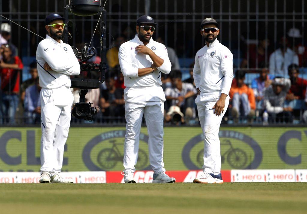 India's Virat Kohli, Rohit Sharma and Ajinkya Rahane on Day 1 of the 1st Test match between India and Bangladesh at Holkar Cricket Stadium in Indore, Madhya Pradesh on Nov 14, 2019. - Virat Kohli and Rohit Sharma