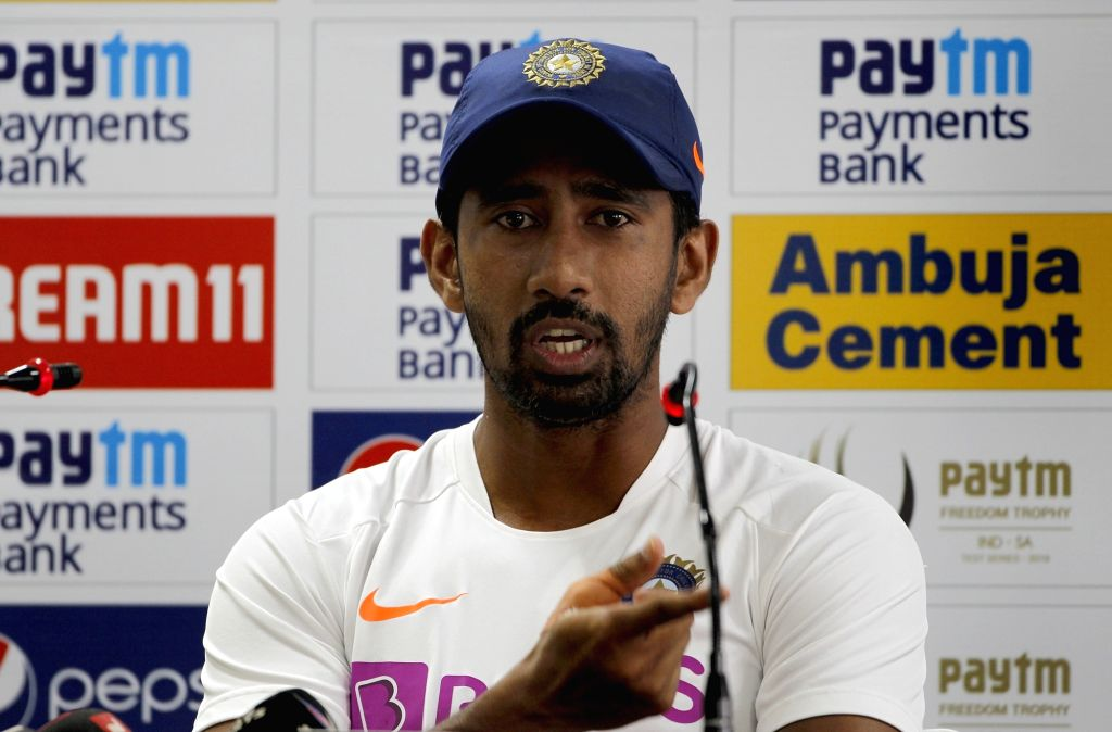 India's Wriddhiman Saha addresses a press conference ahead of the 3rd Test match against South Africa at JSCA International Stadium in Ranchi on Oct 18, 2019.