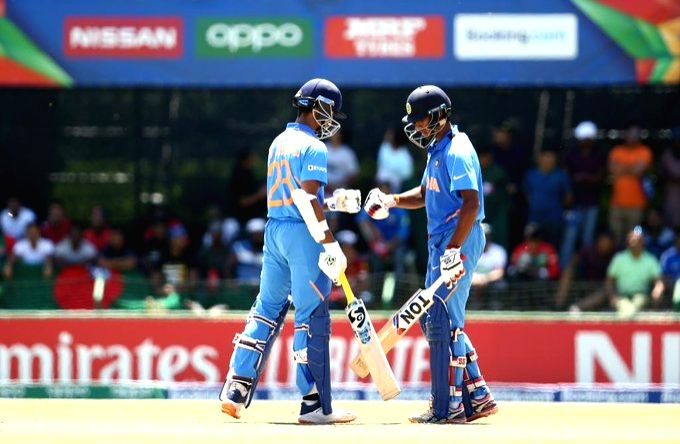 India's Yashasvi Jaiswal and Tilak Varma during the ICC U19 World Cup final between India and Bangladesh, in Potchefstroom, South Africa on Feb 9, 2020.