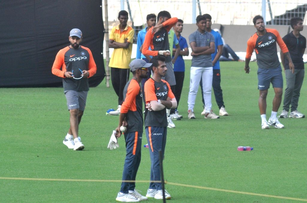 India's Yuzvendra Chahal and Shahbaz Nadeem during a practice session ahead of the first T20 match against West Indies at the Eden Gardens in Kolkata, on Nov 3, 2018.