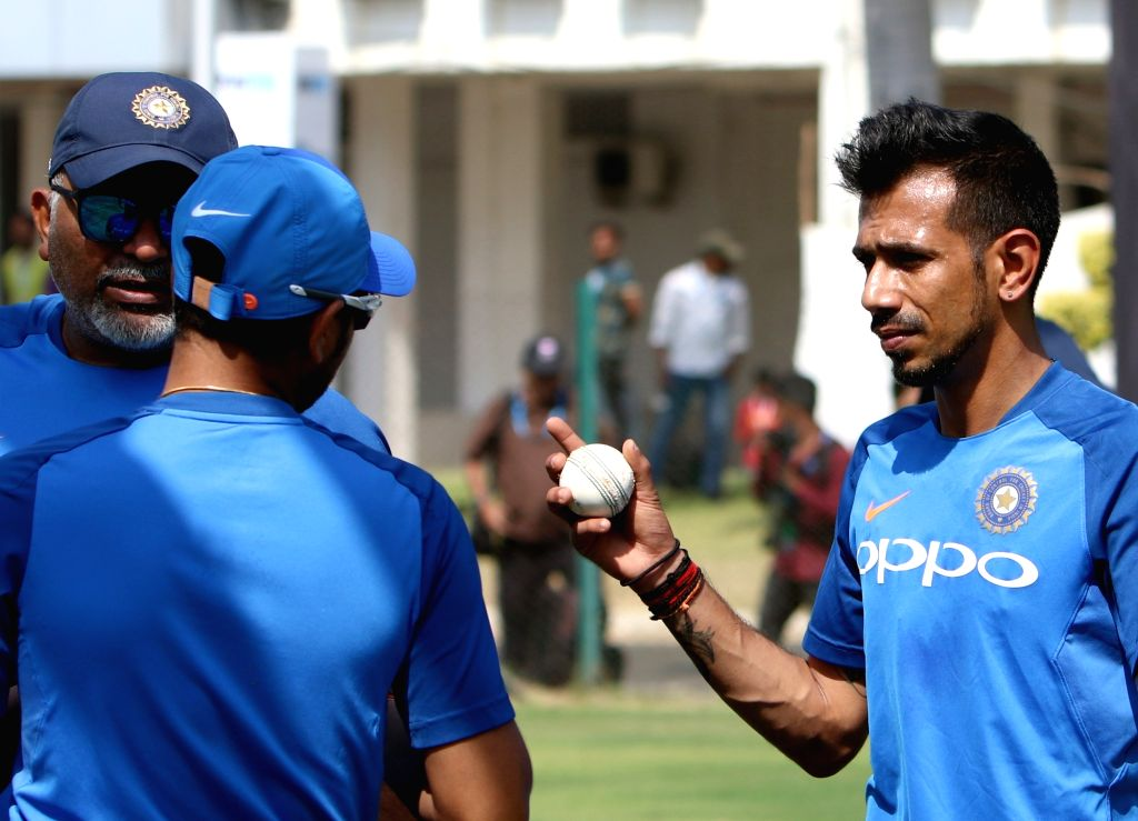 India's Yuzvendra Chahal during a practice session ahead of the 2nd ODI match against Australia, at Vidarbha Cricket Association (VCA) Stadium, in Nagpur, on March 4, 2019.