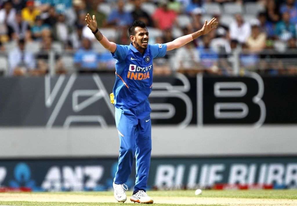 India's Yuzvendra Chahal in action during the 2nd ODI of the three-match series between India and New Zealand at the Eden Park in Auckland,New Zealand on Feb 8, 2020.