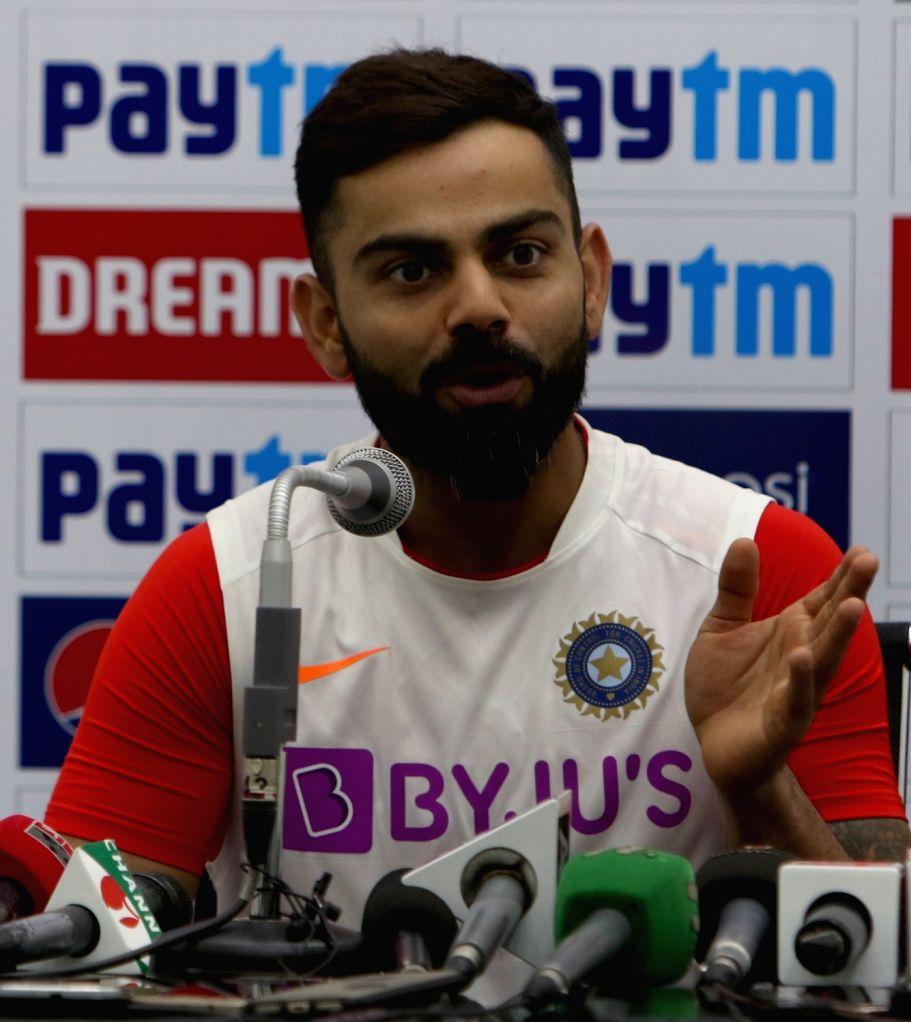 India skipper Virat Kohli addresses a press conference ahead of the 1st Test match against Bangladesh, at Holkar Cricket Stadium in Indore, Madhya Pradesh on Nov 13, 2019. - Virat Kohli
