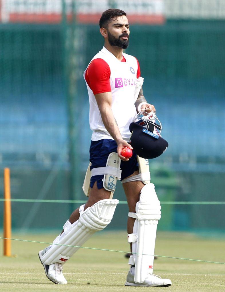 India skipper Virat Kohli during a practice session ahead of the 1st Test match against Bangladesh, at Holkar Cricket Stadium in Indore, Madhya Pradesh on Nov 13, 2019. - Virat Kohli
