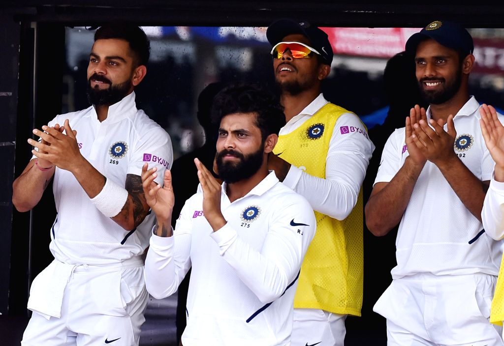 India skipper Virat Kohli, Ravindra Jadeja, Hanuma Vihari and Umesh Yadav on Day 1 of the 1st Test match between India and South Africa at Dr. Y.S. Rajasekhara Reddy ACA-VDCA Cricket ... - Virat Kohli, Ravindra Jadeja and Umesh Yadav
