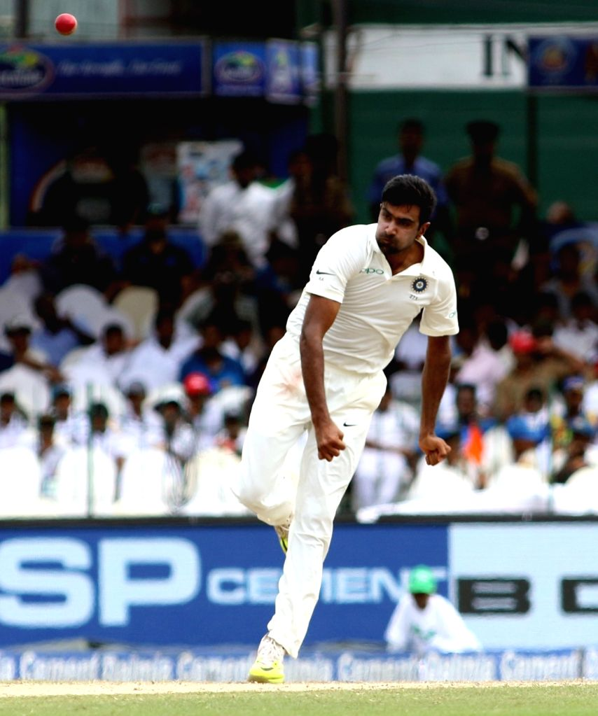India spinner Ravichandran Ashwin in action during on Day 3 of the second test match between India and Sri Lanka at Sinhalese Sports Club Ground in Colombo, Sri Lanka on Aug 5, 2017.