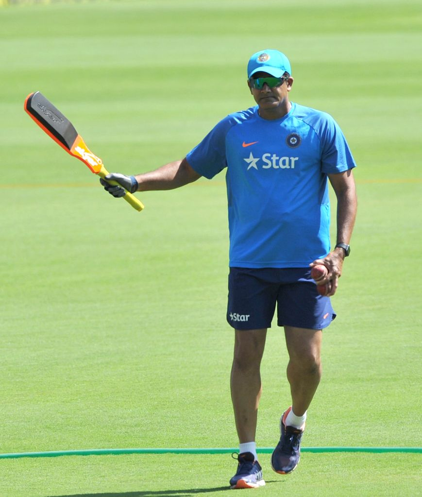 India team coach Anil Kumble during a practice session ahead of the second test match between India and Australia in Bengaluru on March 3, 2017.