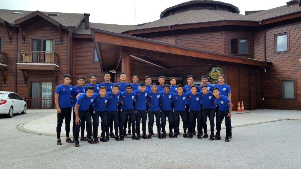 India U-16 National Team after reaching Tashkent, Uzbekistan for the forthcoming AFC U-16 Qualifiers, on Sep 14, 2019.