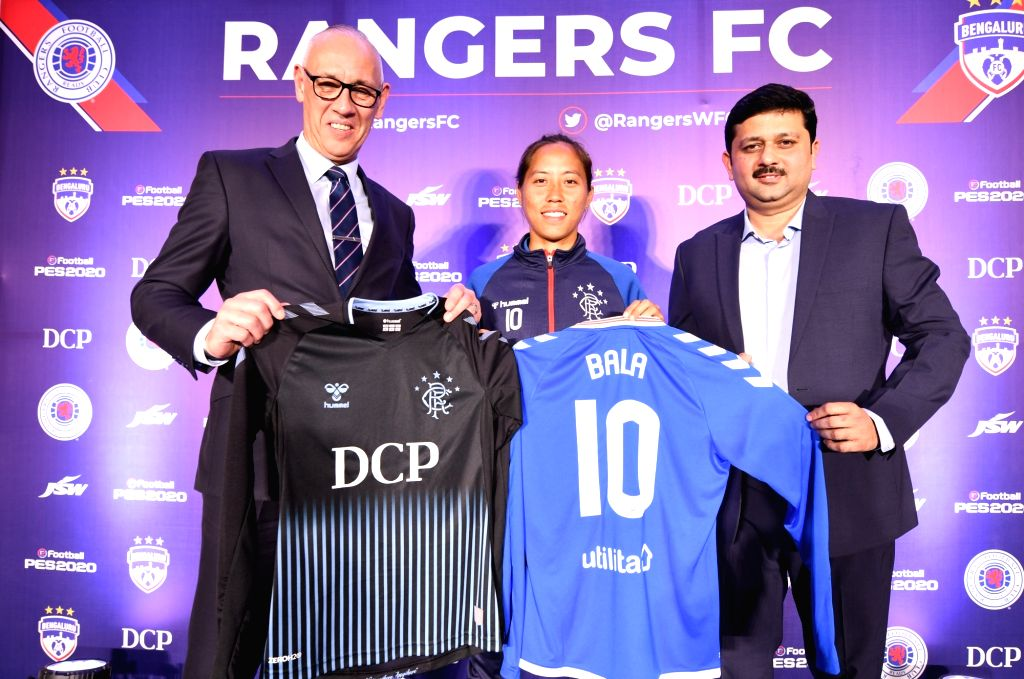 India women's football team attacker Bala Devi, at a programme where Rangers Football Club signed her, in Bengaluru on Jan 29, 2020. The 29-year-old joins the club on an 18-month deal ...