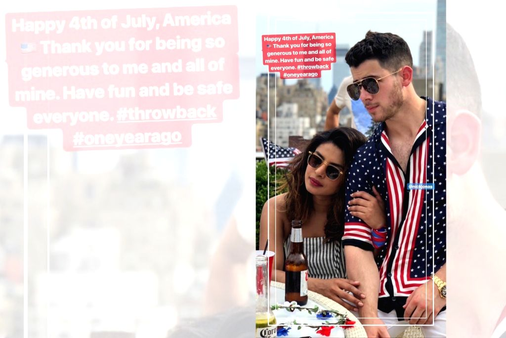 Indian actress Priyanka Chopra Jonas has thanked America for being generous to her. Priyanka on Thursday posted a throwback photograph on her Instagram story of herself along with her pop singer husband Nick Jonas to celebrate the 4th of July. (Photo - Priyanka Chopra Jonas