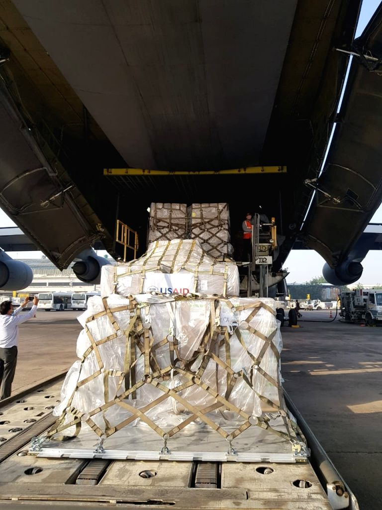 Indian Air Force flight carrying first batch of oxygen cylinders from UK, landed in Chennai International Airport early this morning.