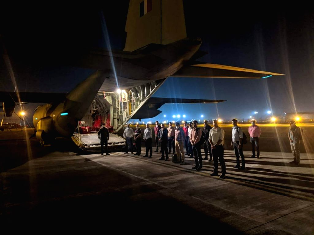 Indian Air Force (IAF) aircraft C-130 with a Coronavirus rapid response team comprising medical personnel and equipment readying for Kuwait.