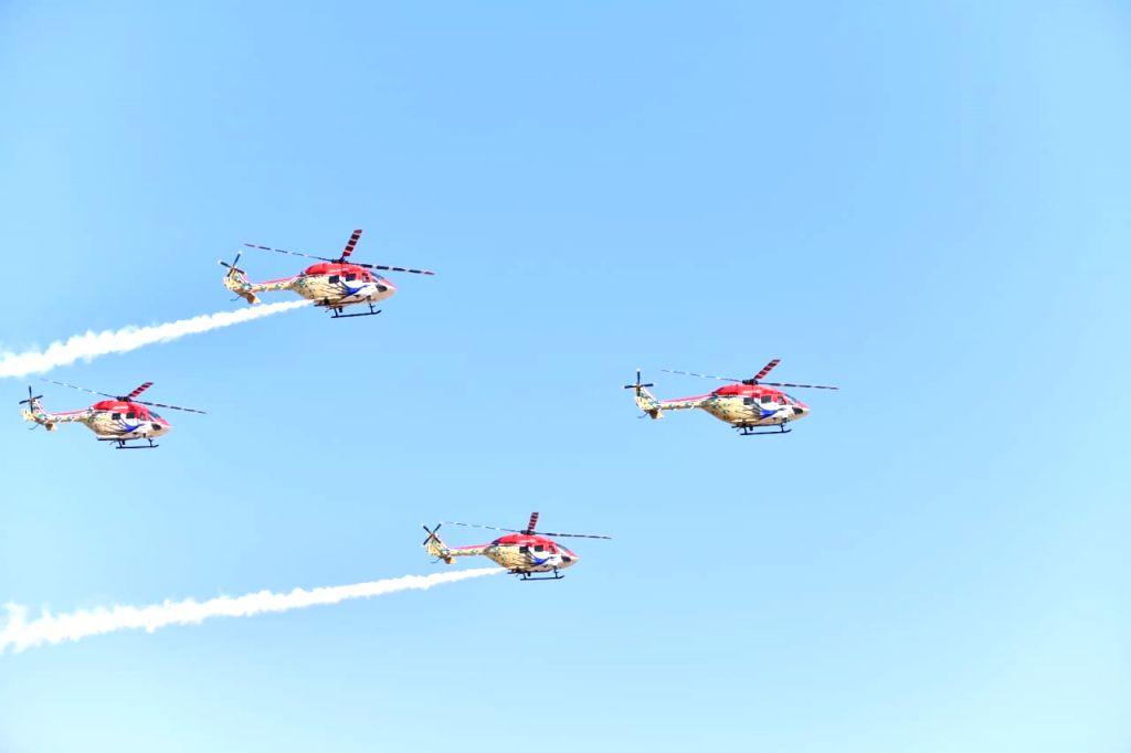 "Indian Air Force's Sarang display team enthralls audience at ""Aero India 2019"" - air show at Yelahanka Air Force Station, in Bengaluru, on Feb 20, 2019."