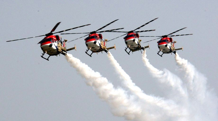 Indian Air Force's Sarang helicopters during Air Force Day at Hindon celebrations at Hindon Air Force base in Ghaziabad on Oct 8, 2016.
