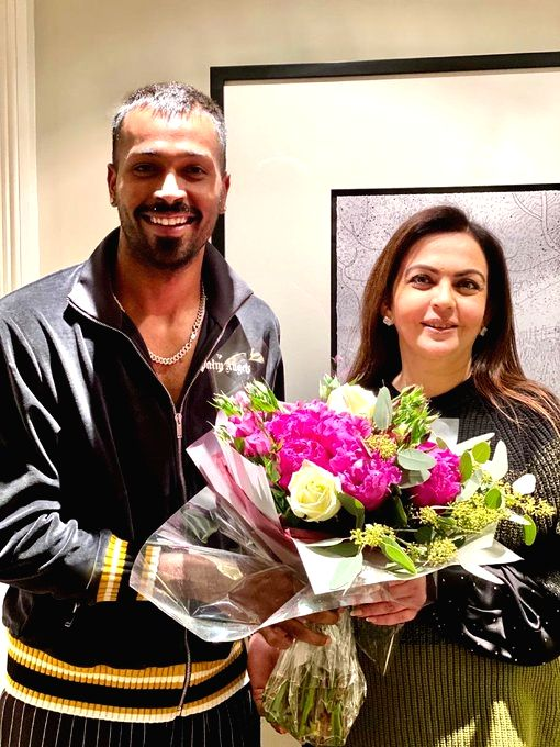 Indian all-rounder Hardik Pandya, who recently underwent a surgery to treat his lower back issue, on Thursday expressed gratitude to Nita Ambani, the chairperson of the Reliance Foundation for visiting him in the UK. - Nita Ambani