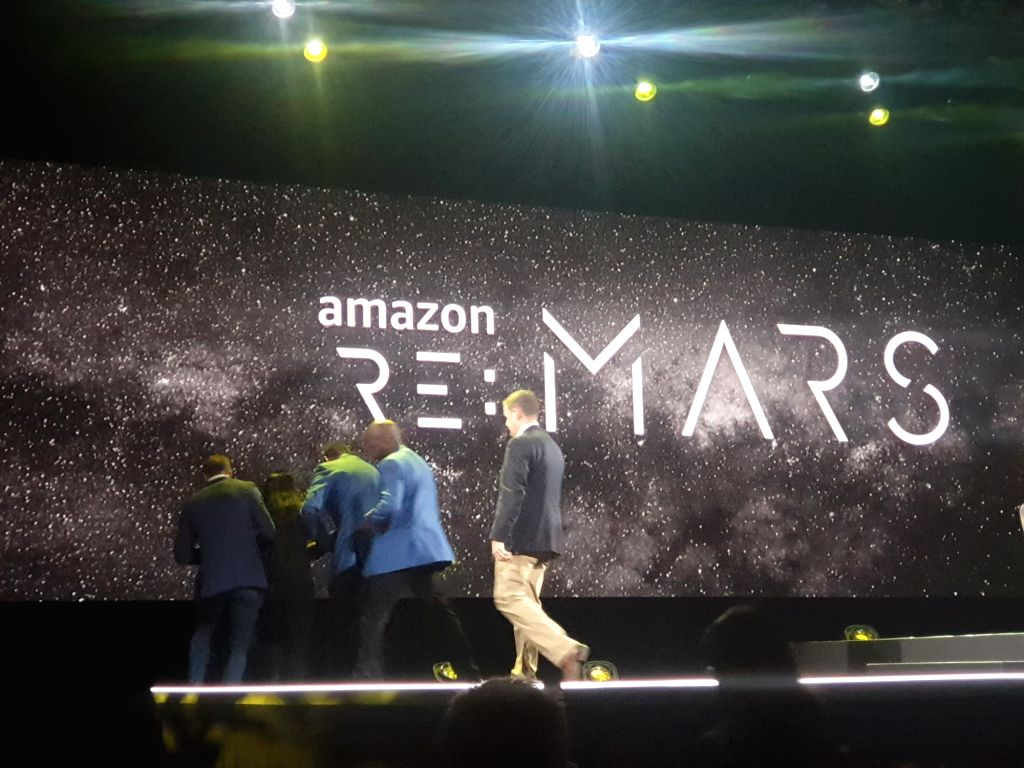 Indian American animal rights activist Priya Sawhney being taken away by security guards during Amazon's re: Mars event in Las Vegas on June 6, 2019. (Photo: IANS).