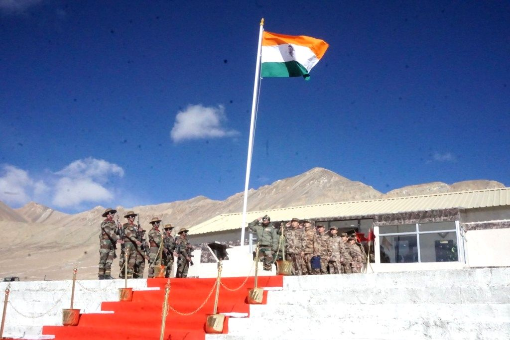 Indian and Chinese soilders during Border Personnel Meeting (BPM) held on Diwali in Ladakh of Jammu and Kashmir on Oct 31, 2016.