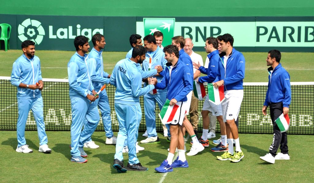 Indian and Italian tennis players during a Davis Cup World Group rubber in Kolkata, on Feb 1, 2019.