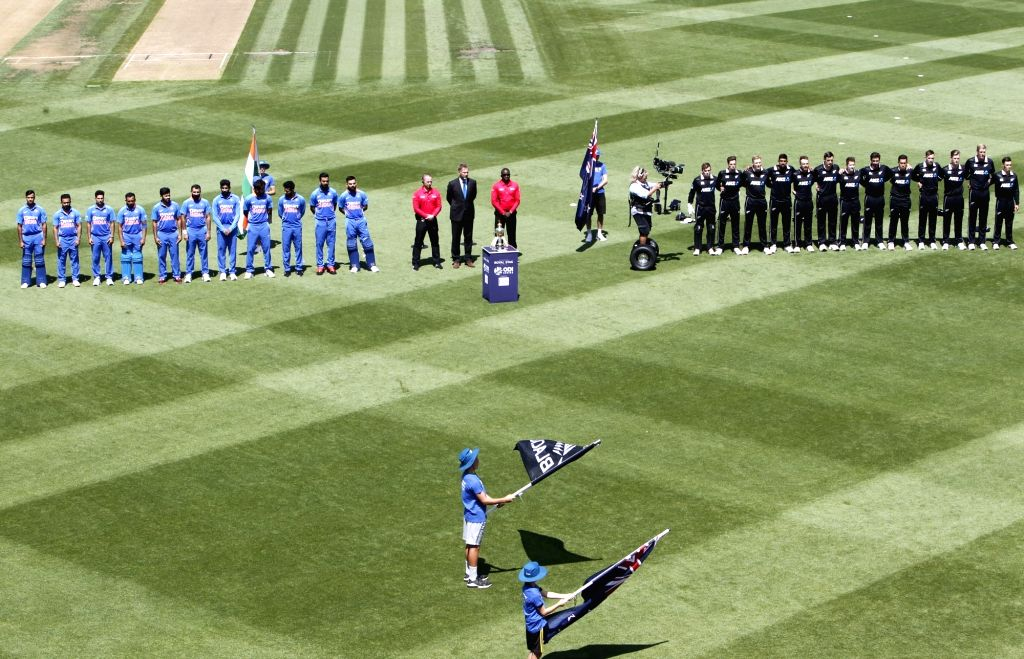 Indian and New Zealand players stand for the National Anthem ahead of the 1st ODI of the three-match series between India and New Zealand at the Seddon Park in Hamilton, New Zealand on Feb ...
