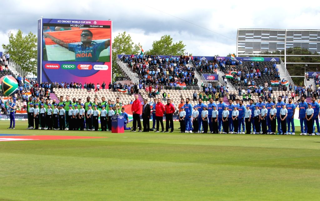 Indian and South African players during the national anthem ahead of the 8th match of 2019 World Cup between India and South Africa at The Rose Bowl in Southampton, England on June 5, ...