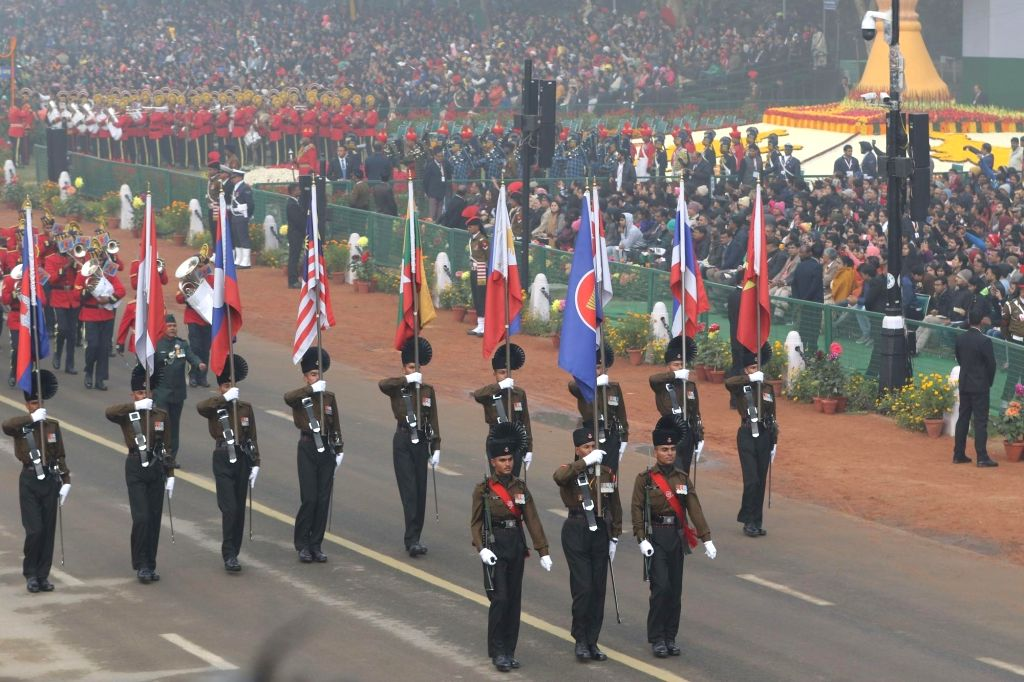 Indian Army Band drawn from 39 Gorkha Training Centre and 1 EME Centre, march on Rajpath with ASEAN flag and flags of the 10 ASEAN countries during Republic Day Parade 2018, in New Delhi ...
