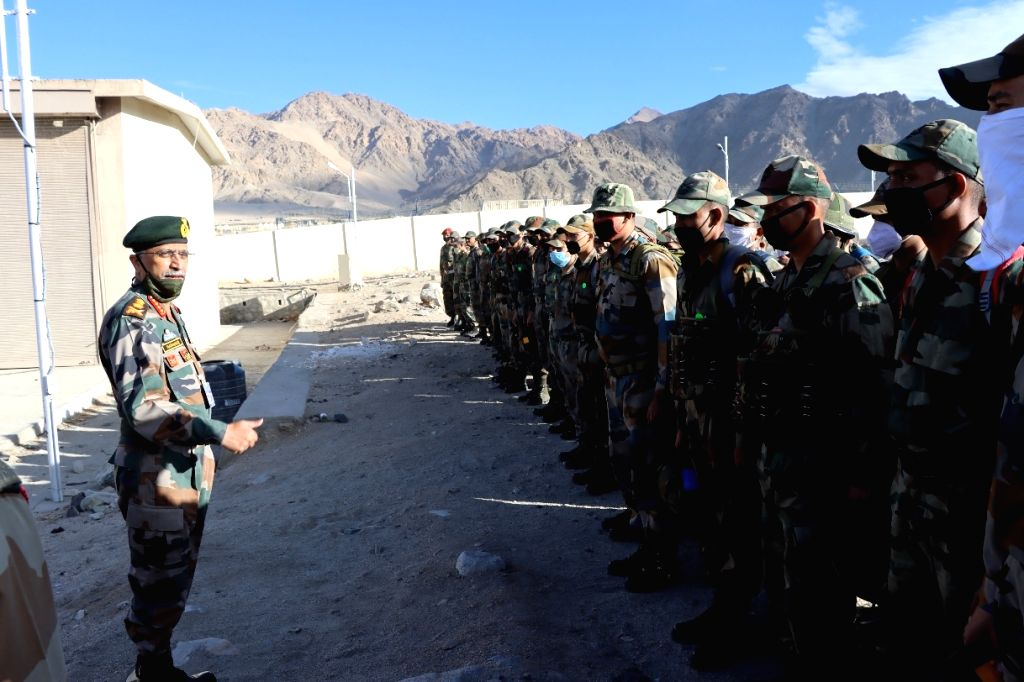 Indian Army Chief interacting with troops at forward location in Ladakh
