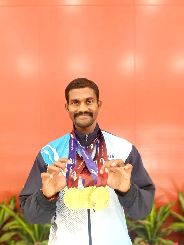Indian Army's bladerunner Anandan Gunasekaran who won three golds in Military World Games, China.