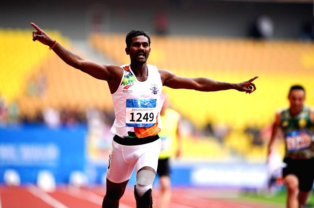 Indian Army's bladerunner Anandan Gunasekaran who won three golds in Military World Games, China.