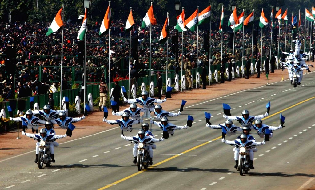 Indian Army's 'Daredevils' motorcycle team during 2019 Republic Day Parade on Rajpath in New Delhi on Jan 26, 2019.