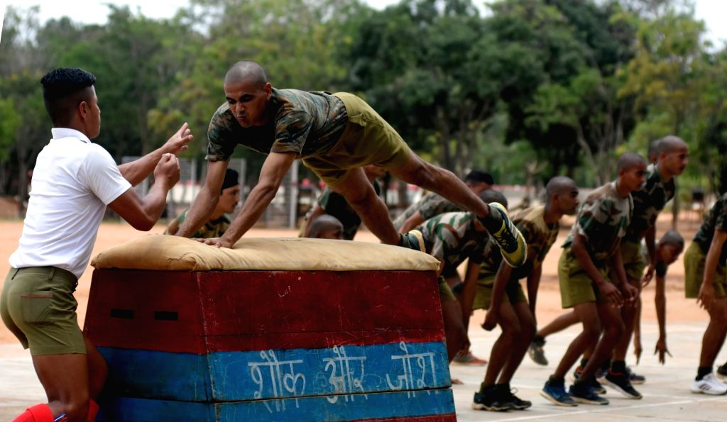 Indian Army soldiers demonstrate their skills during the media visit cum interaction with the Indian Army at Parachute Regimental Training Centre (PRTC) in Bengaluru on Aug 18, 2017.