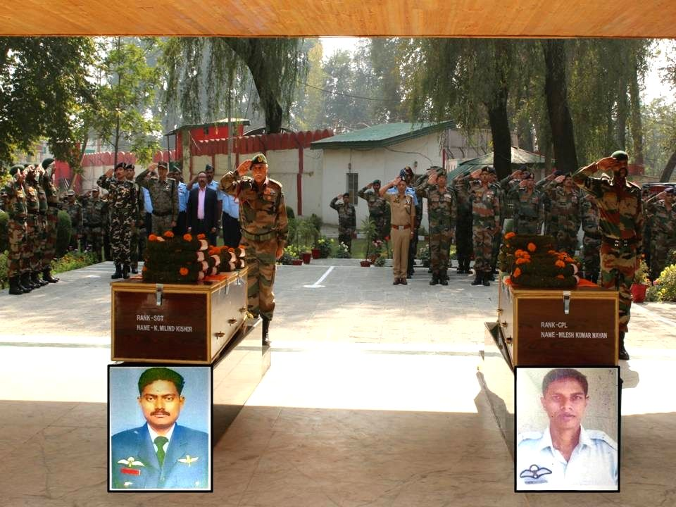 Indian Army soldiers pay tribute to the two Garud personnel who were killed in a gun battle in Jammu and Kashmir's Bandipora district; in Srinagar on Oct 11, 2017.