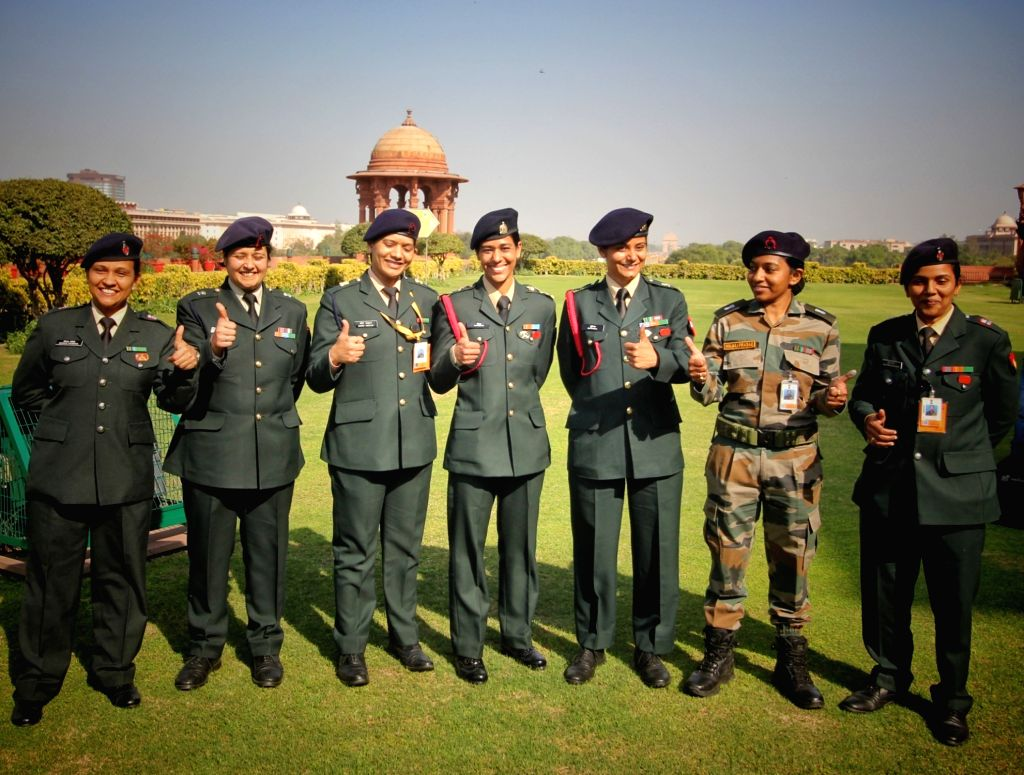 Indian Army Women officers pose for photo to celebrate World Women Day out side Defense Ministry North Block in New Delhi, on Sunday, March 07, 2021.