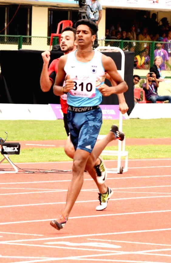Indian athlete Amoj Jacob reacts after qualifying for the semi-finals of the men's 400m during Asian Athletics Championship at Kalinga Stadium in Bhubaneswar on July 6, 2017.