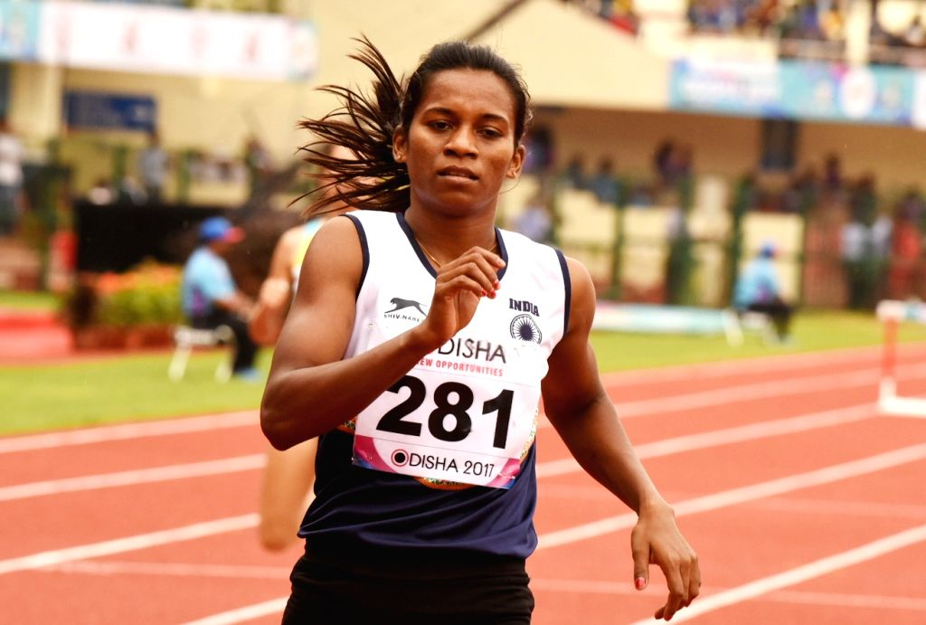 Indian athlete Jauna Murmu reacts after qualifying for the finals of the women's 400m hurdles during Asian Athletics Championship at Kalinga Stadium in Bhubaneswar on July 7, 2017.