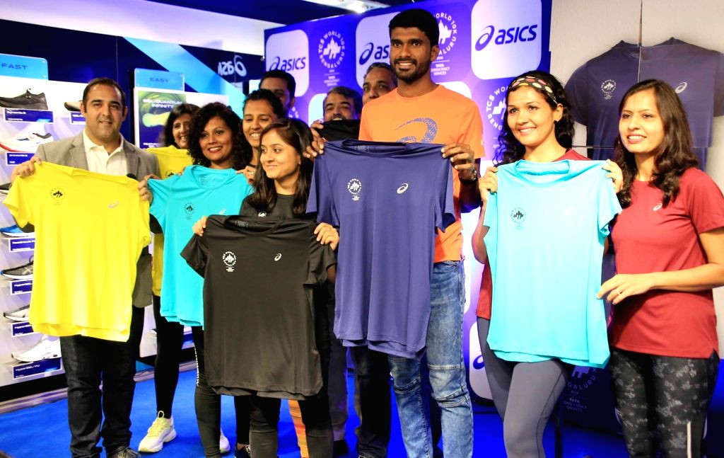 Indian athlete Jinson Johnson at the launch of 'Finisher's Tee' for the 12th edition of the world's premier Tata Consultancy Services World 10K Bengaluru, on May 7, 2019.