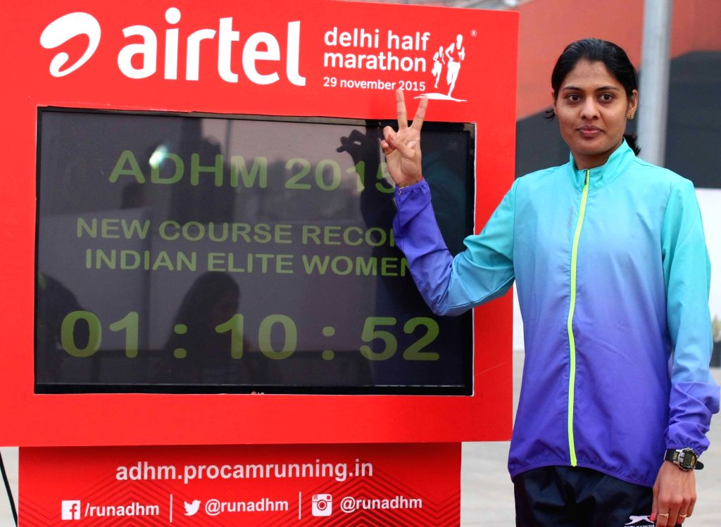 Indian athlete Lalita Shivaji Babar after the finish of Indian Elite Women event at the Airtel Delhi Half Marathon, on Nov 29, 2015.