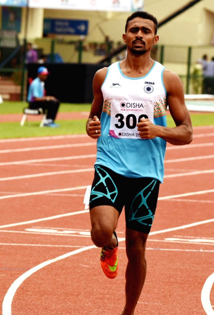 Indian athlete Muhammed Anas reacts after qualifying for the semi-finals of the men's 400m during Asian Athletics Championship at Kalinga Stadium in Bhubaneswar on July 6, 2017.
