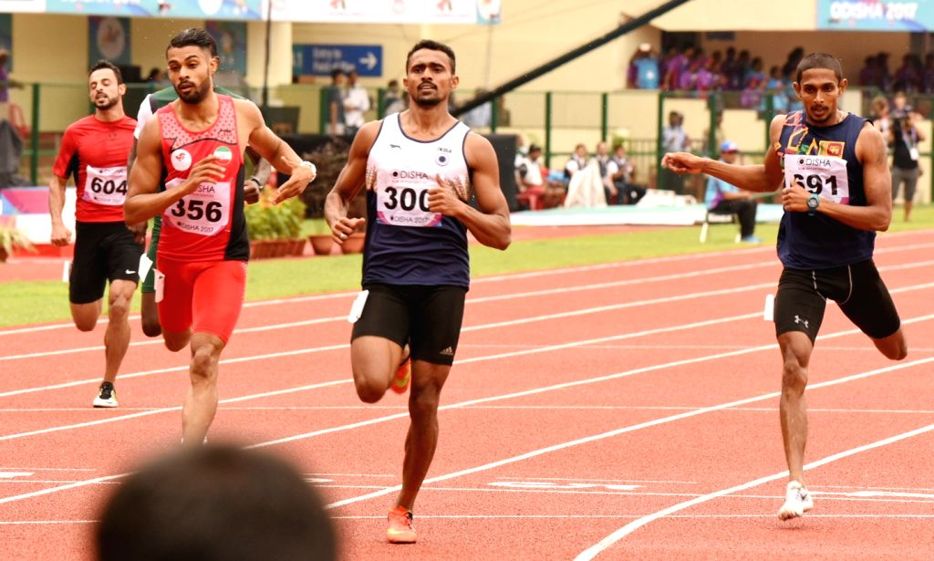 Indian athlete Muhammed Anas reacts after qualifying for the finals of the men's 400m during Asian Athletics Championship at Kalinga Stadium in Bhubaneswar on July 7, 2017.