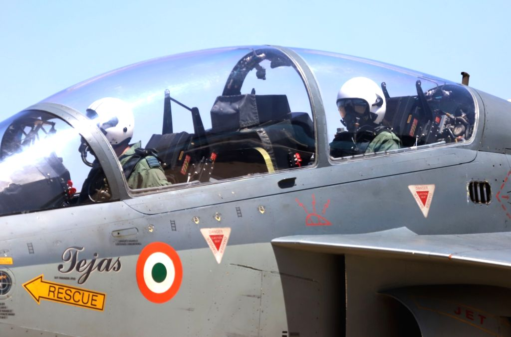 """Indian badminton player PV Sindhu in the cockpit of Tejas fighter aircraft during """"Aero India 2019"""" - air show at Yelahanka Air Force Station, in Bengaluru, on Feb 23, 2019."""