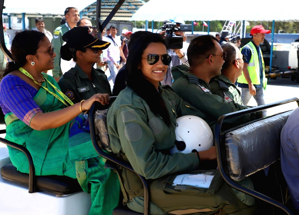 """Indian badminton player PV Sindhu who flew in Tejas fighter aircraft during """"Aero India 2019"""" - air show at Yelahanka Air Force Station, in Bengaluru, on Feb 23, 2019."""