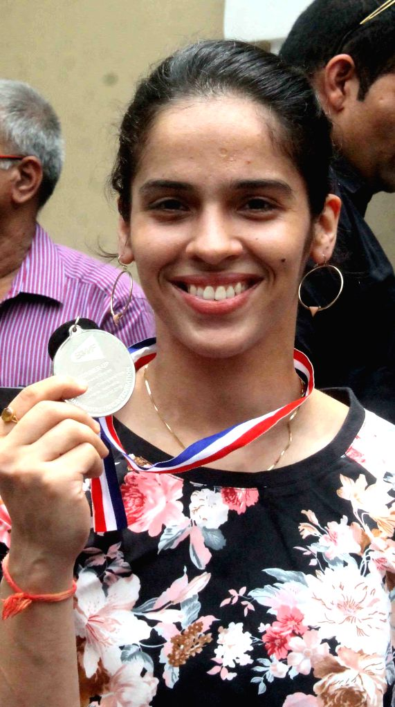 Indian badminton player Saina Nehwal who won silver at the World Championships during a press conference in Hyderabad on Aug 18, 2015.