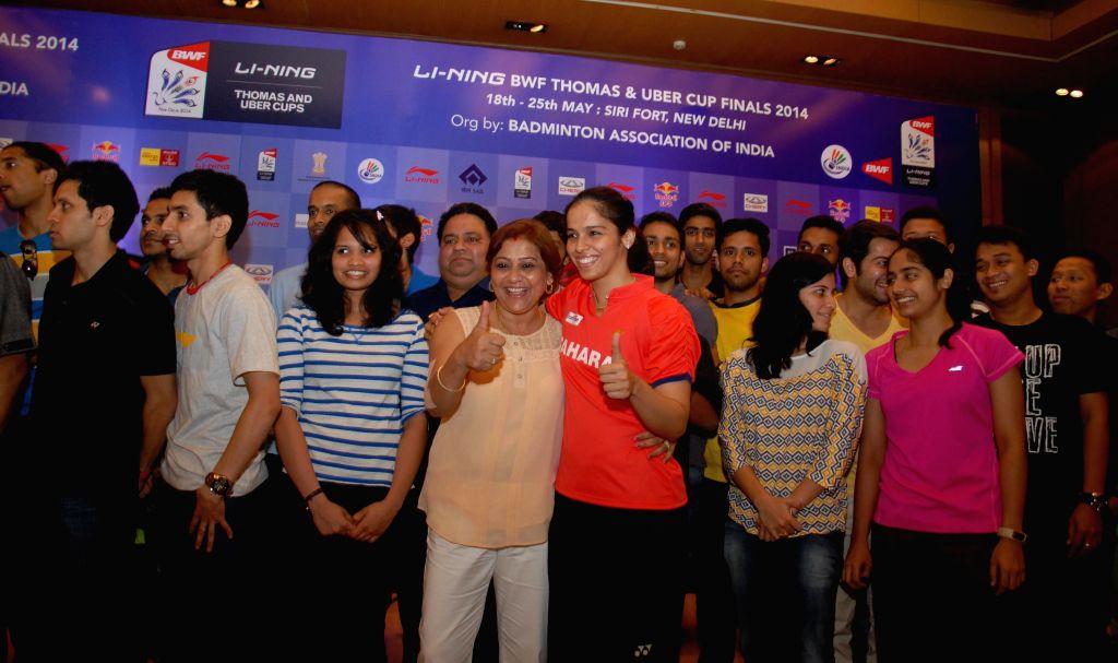 Indian badminton player Saina Nehwal with BAI President Akhilesh Das Gupta  and others during announcement of Li-Ning BWF Thomas and Uber cup finals -2014 in New Delhi on May 14, 2014. - Akhilesh Das Gupta