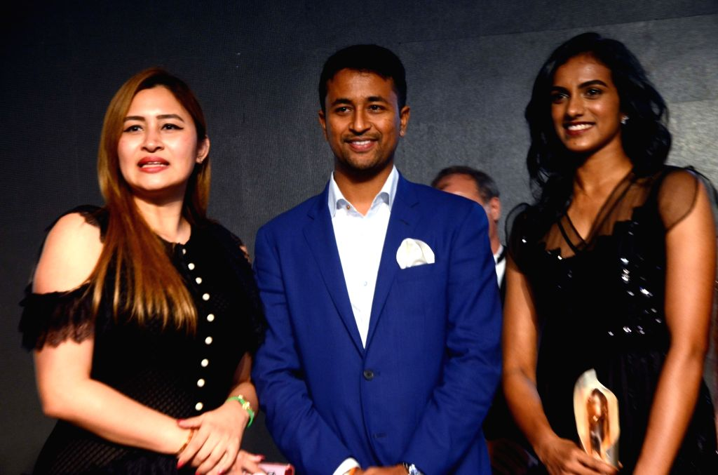Indian badminton players PV Sindhu, Jwala Gutta and cricketer Pragyan Ojha during Sports Illustrated award ceremony in Mumbai, on July 6, 2017.