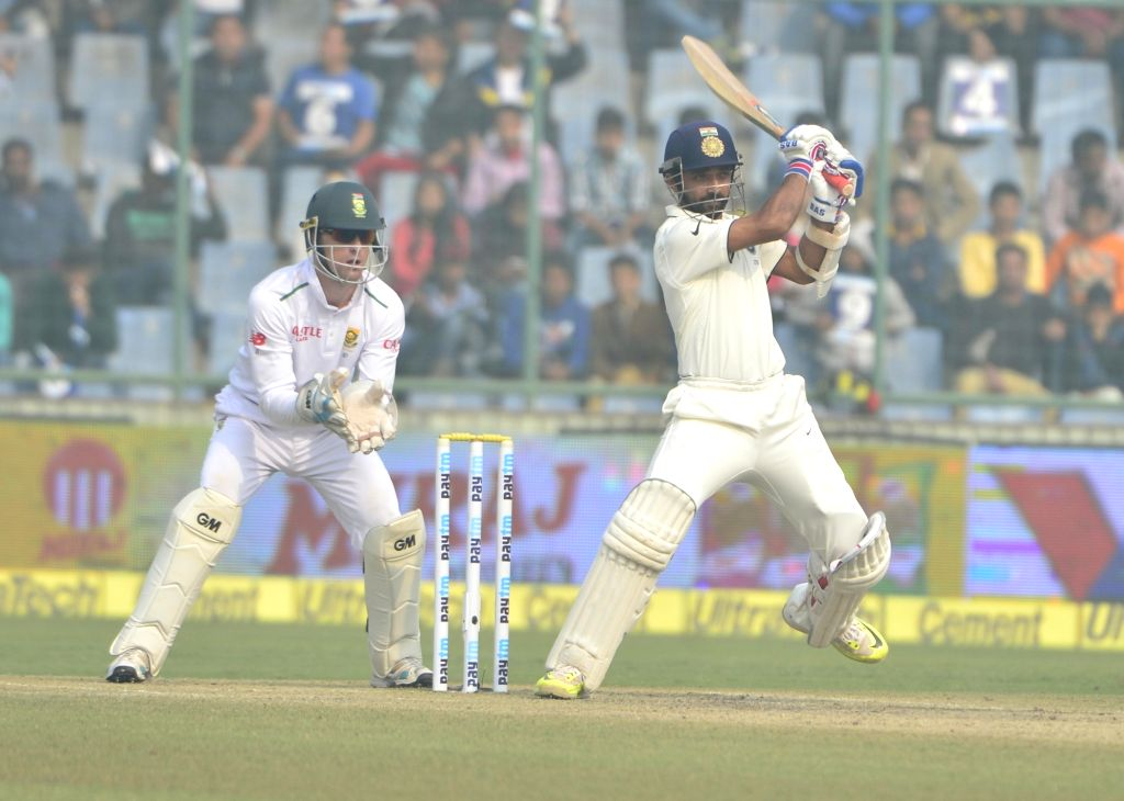 Indian batsman Ajinkya Rahane in action during the fourth day of the Fourth and the final test match between India and South Africa at the Feroz Shah Kotla Stadium in New Delhi on Dec. 6, ... - Ajinkya Rahane