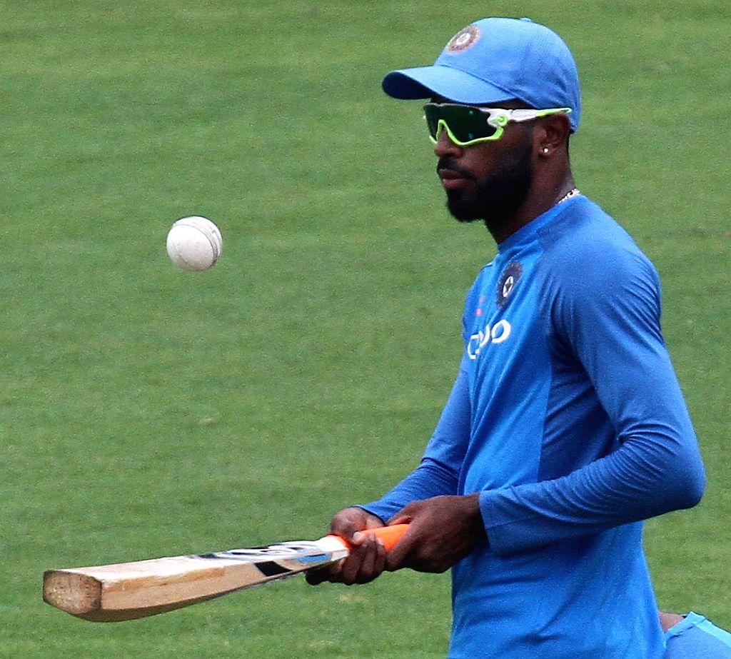 Indian batsman Hardik Pandya during a practice session in Chennai on Sept 16, 2017. - Hardik Pandya