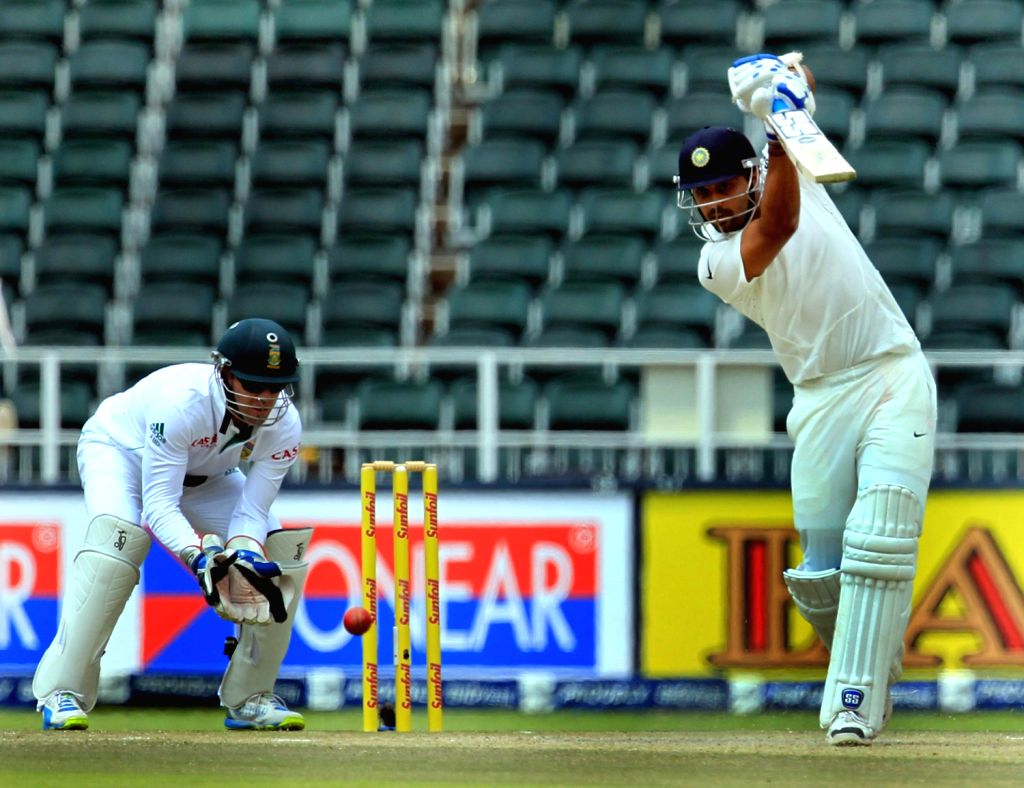 Indian batsman Murali Vijay in action during the 3rd Day of the First Test match between India and South Africa played at New Wanderers Stadium in Johannesburg on Dec.20, 2013. - Murali Vijay