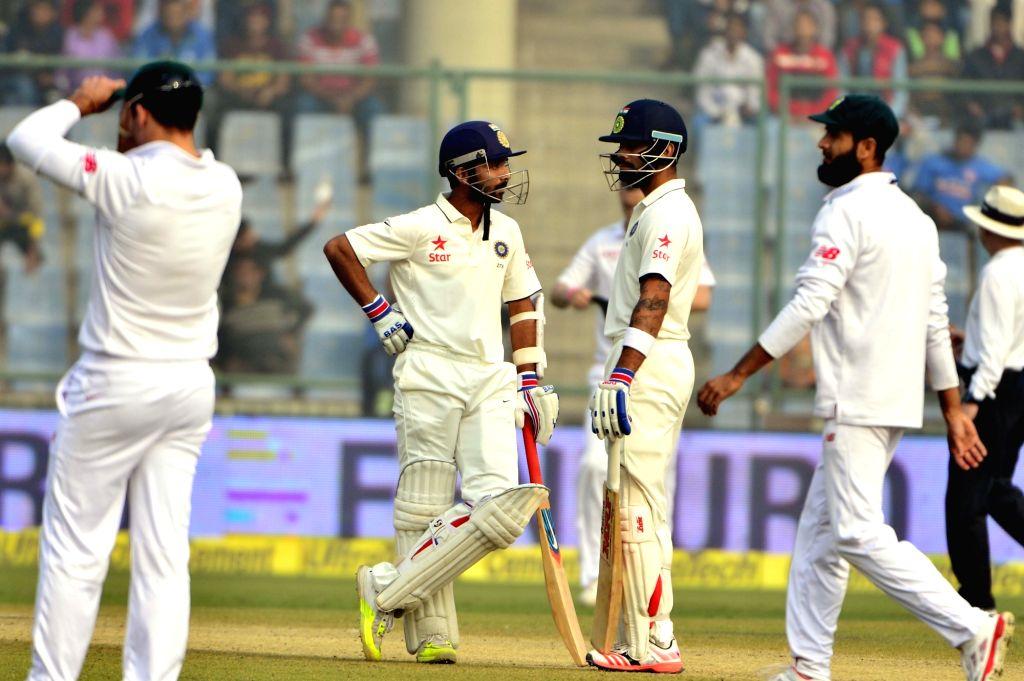 Indian batsmen Ajinkya Rahane and Virat Kohli during the fourth day of the Fourth and the final test match between India and South Africa at the Feroz Shah Kotla Stadium in New Delhi on ... - Virat Kohli